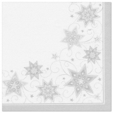 5 x  50 Servietten ROYAL Collection 1/4-Falz 48 cm x 48 cm weiss Just Stars