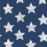 12 x  30 Servietten, 3-lagig 1/4-Falz 33 cm x 33 cm blau Vintage Stars
