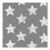 12 x  30 Servietten, 3-lagig 1/4-Falz 33 cm x 33 cm grau Vintage Stars