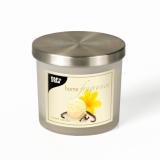 6 x  Duftkerze im Glas Ø 84 mm · 75 mm creme - Sweet Vanilla satiniert, mit Metalldeckel