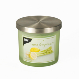 6 x  Duftkerze im Glas Ø 84 mm · 75 mm hellgrün - Lemongrass satiniert, mit Metalldeckel