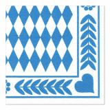 4 x  250 Servietten, 3-lagig 1/4-Falz 33 cm x 33 cm Bayrisch Blau