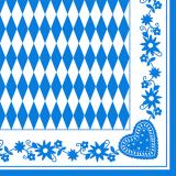 8 x  50 Servietten, 3-lagig 1/4-Falz 40 cm x 40 cm Bayrisch Blau