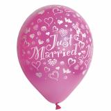 12 x  10 Luftballons Ø 29 cm fuchsia Just Married metallic