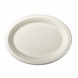 10 x  50 Teller, Zuckerrohr pure oval 32 cm x 25,5 cm x 2 cm weiss