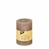 6 x  Zylinderkerze Ø 70 mm · 100 mm taupe Rustic durchgefärbt