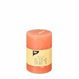 6 x  Zylinderkerze Ø 70 mm · 100 mm nektarine Rustic durchgefärbt