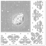 5 x  50 Servietten ROYAL Collection 1/4-Falz 40 cm x 40 cm silber Christmas
