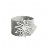6 x  4 Serviettenringe Ø 4 cm grau Crystal