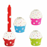 12 x  Kerzenhalter, Holz rund Ø 4 cm · 5 cm Cupcake