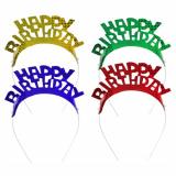 8 x  4 Haarreifen farbig sortiert Happy Birthday Metallic
