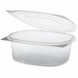 6 x  50 Feinkost- und Salatschalen mit Klappdeckeln, PET oval 1500 ml 7,6 cm x 18,2 cm x 20,8 cm klar
