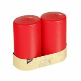 6 x  2 Stumpenkerzen Ø 80 mm · 150 mm rot mit Flachkopf