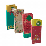 10 x  Lacktragetasche, Flasche 36 cm x 13 cm x 10 cm Christmas sortiert