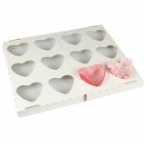 12 x  24 Backförmchen, Herzform 3,5 cm x 6,5 cm x 5,5 cm Hearts mit Backtray