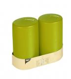 6 x  2 Stumpenkerzen Ø 80 mm · 150 mm kiwi mit Flachkopf