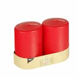 6 x  2 Stumpenkerzen Ø 80 mm · 100 mm rot mit Flachkopf