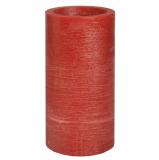 6 x  LED-Stumpenkerze Ø 100 mm · 200 mm rot Rustic inkl. Batterien und Timer