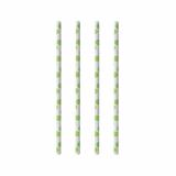 10 x  100 Trinkhalme, Papier pure Ø 6 mm · 20 cm green Dots