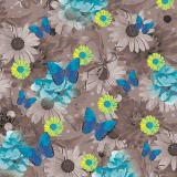 10 x  20 Servietten, 3-lagig 1/4-Falz 33 cm x 33 cm Blue Butterflies