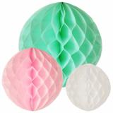 15 x  3 Wabenbälle farbig sortiert Pastel verschiedene Größen