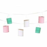 15 x  Deko-Girlande 3,6 m weiss/mint/rosa Pastel mit 8 Laternen