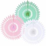 15 x  3 Dekofächer Ø 40 cm farbig sortiert Pastel
