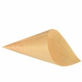 10 x  50 Fingerfood - Spitztüten, Holz pure Ø 12,5 cm · 24 cm