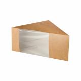 10 x  50 Sandwichboxen, Pappe mit Sichtfenster aus PLA 12,3 cm x 12,3 cm x 8,2 cm braun