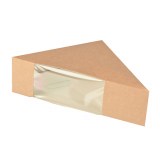 10 x  50 Sandwichboxen, Pappe mit Sichtfenster aus PLA 12,3 cm x 12,3 cm x 5,2 cm braun