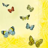 10 x  20 Servietten, 3-lagig 1/4-Falz 33 cm x 33 cm Papillons