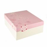 4 x  15 Tortenkartons, mit Deckel, Pappe eckig 30 cm x 30 cm x 13 cm weiss/rosa Lovely Flowers