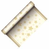 6 x  Tischläufer, stoffähnlich, Airlaid 3 m x 40 cm creme Sparkling Stars