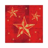 12 x  50 Servietten, 3-lagig 1/4-Falz 25 cm x 25 cm rot Star Shine