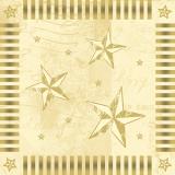 6 x  100 Servietten, 3-lagig 1/4-Falz 33 cm x 33 cm creme Star Shine