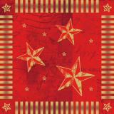 6 x  100 Servietten, 3-lagig 1/4-Falz 33 cm x 33 cm rot Star Shine