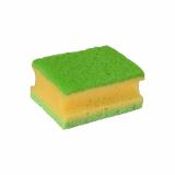 64 x  2 Topfreiniger, Schwamm 9,5 cm x 7 cm x 4,5 cm gelb/grün mit Griffrille, 3-lagig