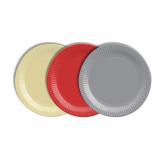 12 x  40 Teller, Pappe rund Ø 19 cm farbig sortiert - rot/creme/grau