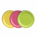 12 x  40 Teller, Pappe rund Ø 19 cm farbig sortiert - limonengrün/fuchsia/gelb