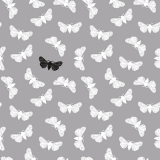 10 x  20 Servietten, 3-lagig 1/4-Falz 40 cm x 40 cm grau Butterfly