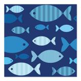 10 x  20 Servietten, 3-lagig 1/4-Falz 33 cm x 33 cm Blue Fish
