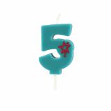 15 x  Zahlenkerze, Mini 6,8 cm blau 5