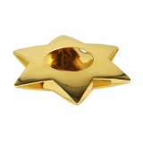 6 x  Kerzenhalter, Edelstahl Ø 110 mm gold Star für Teelichte