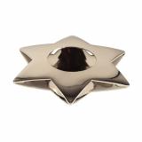 6 x  Kerzenhalter, Edelstahl Ø 110 mm silber Star für Teelichte
