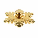 6 x  Kerzenhalter, Edelstahl Ø 110 mm gold Snowflake für Teelichte