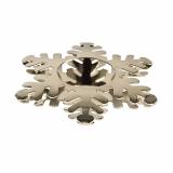 6 x  Kerzenhalter, Edelstahl Ø 110 mm silber Snowflake für Teelichte