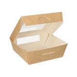 4 x  25 Feinkostboxen, Pappe mit Sichtfenster aus PLA eckig 750 ml 14 cm x 14 cm x 5 cm braun
