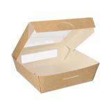 4 x  25 Feinkostboxen, Pappe mit Sichtfenster aus PLA eckig 1000 ml 16 cm x 16 cm x 5 cm braun