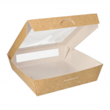 4 x  25 Feinkostboxen, Pappe mit Sichtfenster aus PLA eckig 1500 ml 19 cm x 19 cm x 5 cm braun