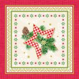 12 x  50 Servietten, 3-lagig 1/4-Falz 25 cm x 25 cm Traditional Star